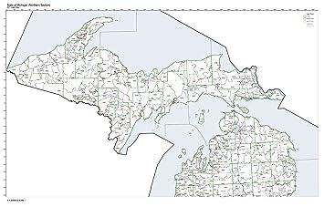 Amazon.com: ZIP Code Map State of Michigan Northern Half Laminated ...