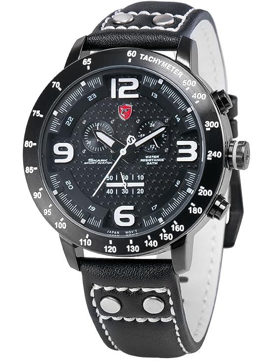 Shark SH402 - Reloj Hombre de Cuarzo, Correa de Cuero: Amazon.es: Relojes