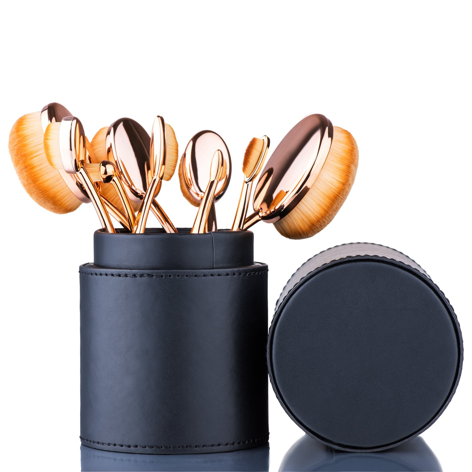 Oval Makeup Brush Set Toothbrush (Rose Gold Black)+ Makeup Organizer Brush Holder PU Leather by Beauty Kate
