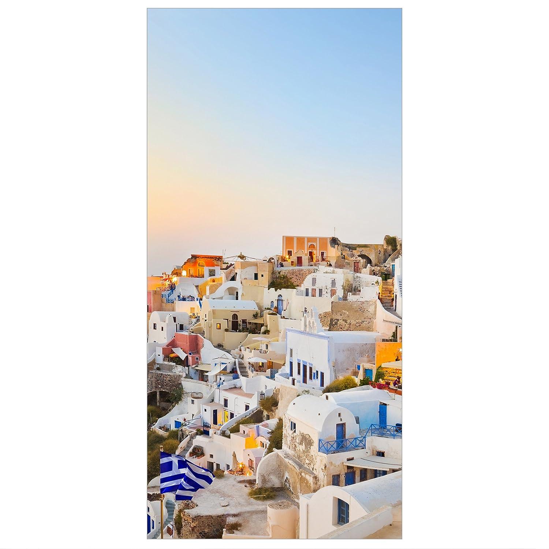 transparenter Halterung Bilderwelten Raumteiler View Over Santorini 250x120cm inkl Möbel & Wohnaccessoires Möbel