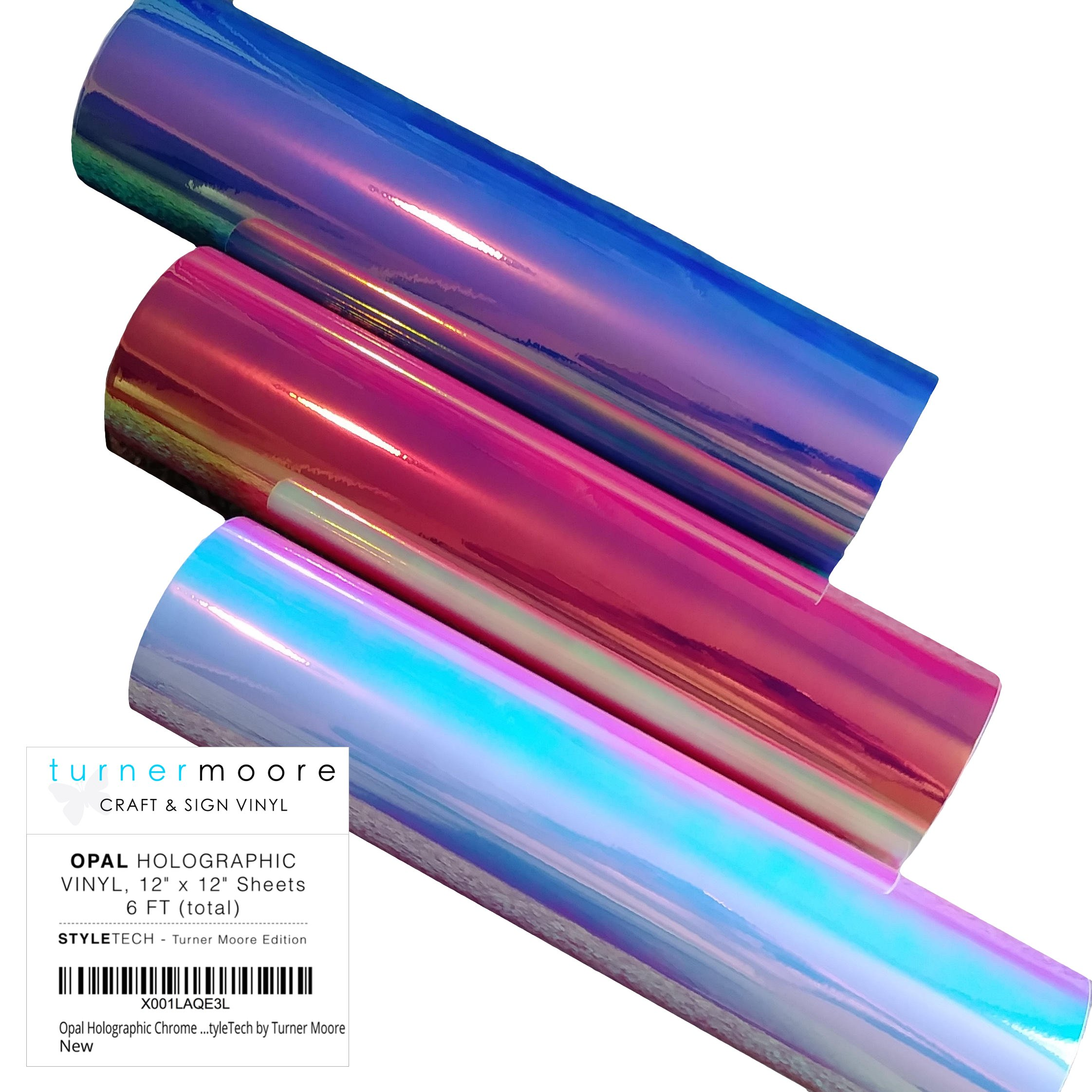 Styletech VNYL-TTH-12001-6 Opal-6-Pack Opal Vinyl Sheets, 6-Pack, Blue/Pink/and White 6 Piece by Styletech