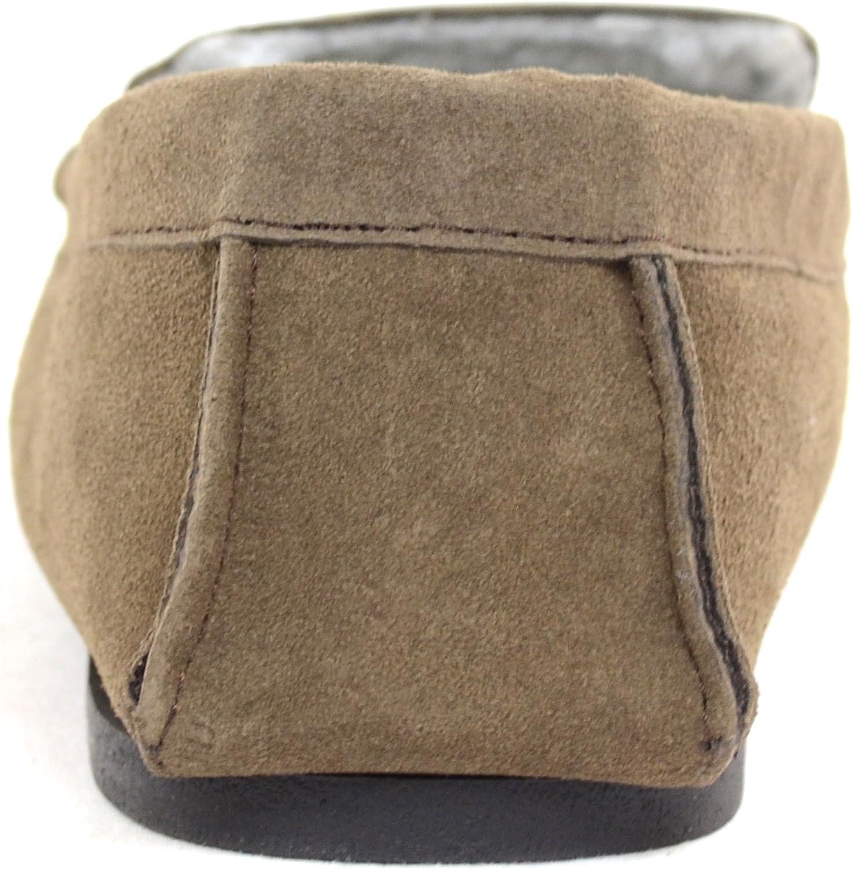Mens Berber Fleece Lined Moccasin Slipper with Non-Slip Rubber Sole