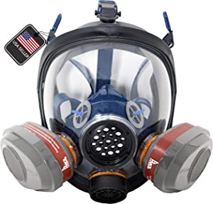 ProTec PT-101 Full Face Gas Mask & Organic Vapor Respirator- ASTM Tested - 1 Year Full Manufacturer Warranty - Eye Protection by Parcil Distribution (PT-101 Respirator & P-A-3.M Filter Set)