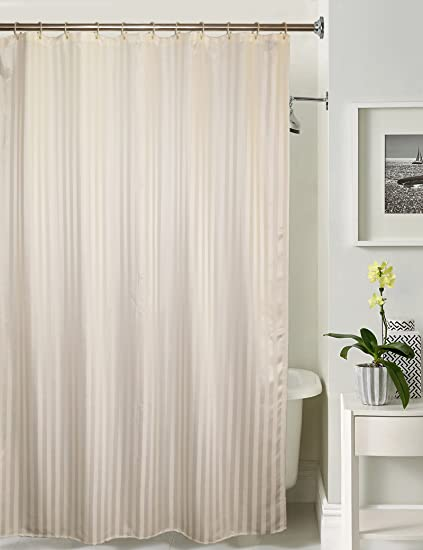 Lushomes Polyester Blend Striped Shower Curtain With 12 Eyelets 72x80 Inch Off White Amazonin Home Kitchen