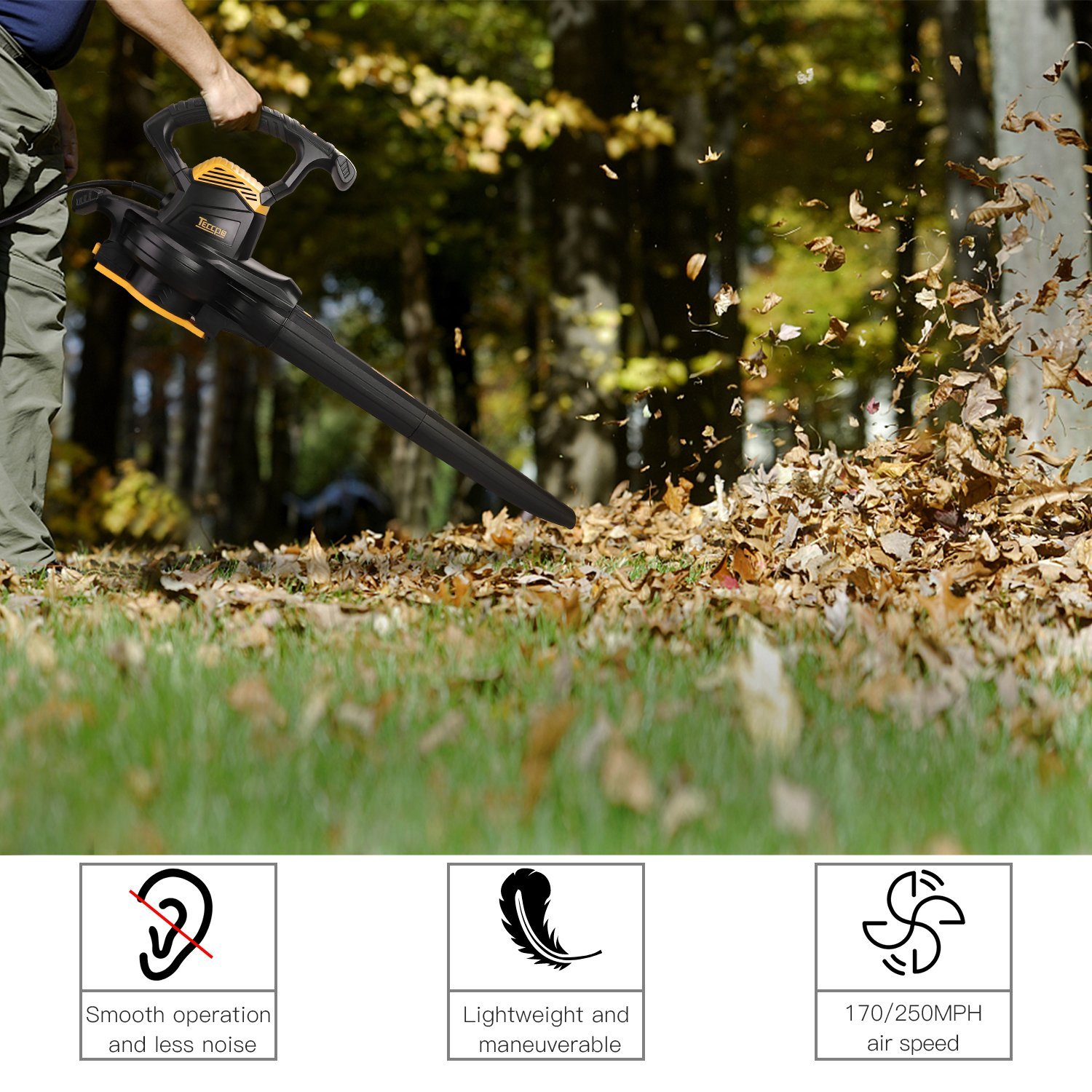 Leaf Blower Vacuum, TECCPO TABV01G 12-Amp 250MPH 410CFM 3 in 1 corded electric Two-Speed Sweeper/Vac/Mulcher, Plastic Impeller Metal Blade, Ideal for Lawn and Garden by TECCPO (Image #6)