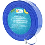 "U.S. Pool Supply 1-1/2"" x 100' Heavy Duty Blue PVC Swimming Pool Backwash Hose with Hose Clamp"
