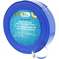 U.S. Pool Supply 1-1/2″ x 50' Heavy Duty Blue PVC Swimming Pool Backwash Hose with Hose Clamp