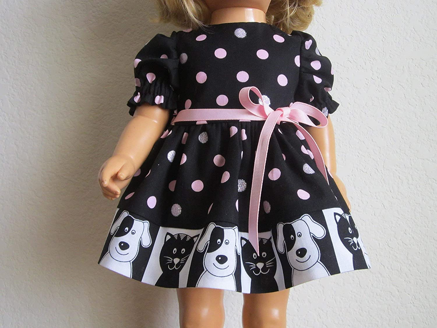 Dog and Cat 'Mugshot' Dress features Silver Glitter Dots fits Chatty Cathy