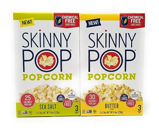 Skinny Pop Microwave Popcorn Bowl Variety , Butter & Sea salt - 8.4 oz Each