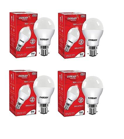 Eveready Base B22 9 Watt LED Bulb  Pack of 4, Cool Day White Light