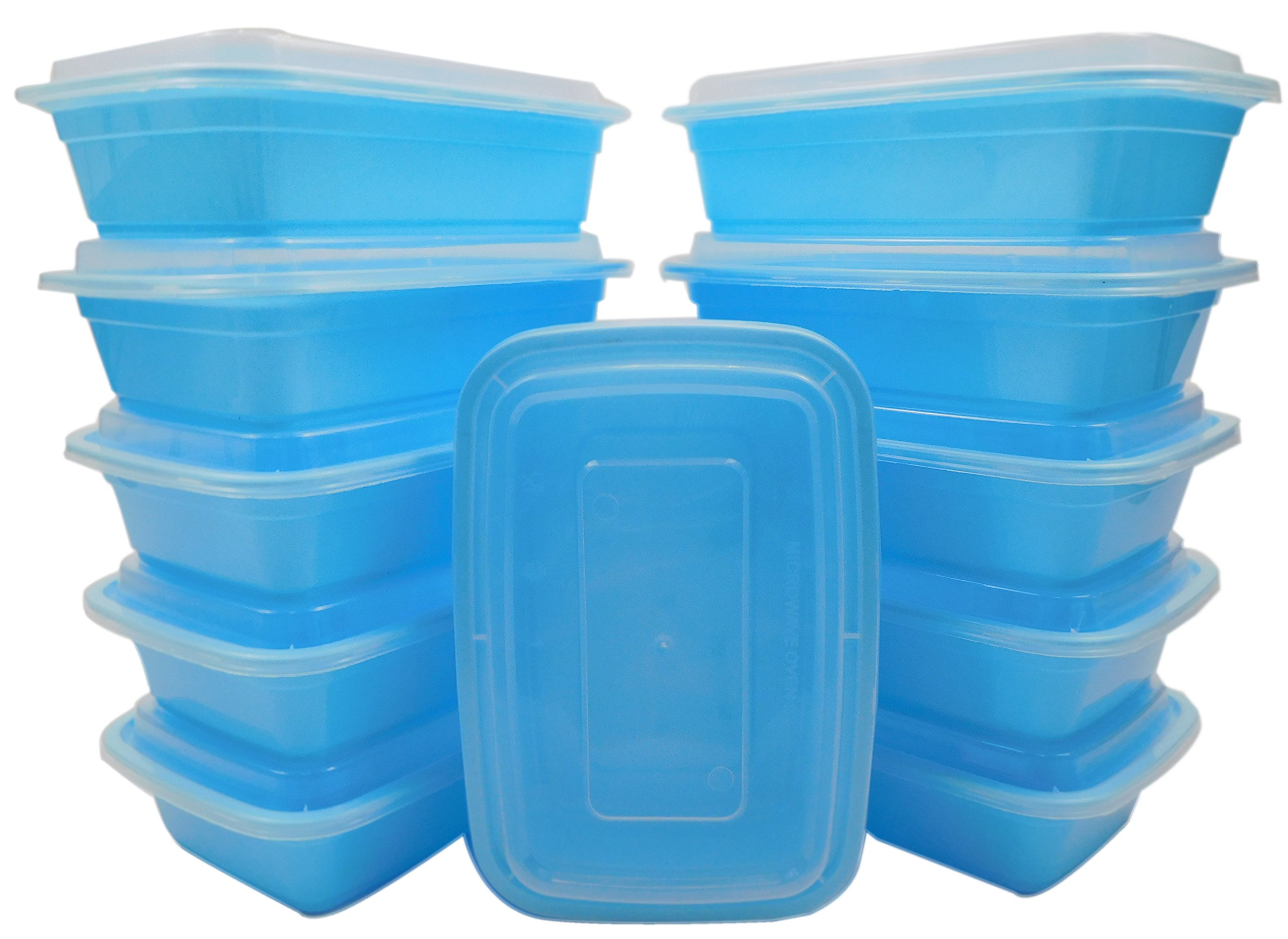 Table To Go 300-Pack Bento Lunch Boxes with Lids (1 Compartment/ 34 oz) | Microwaveable, Dishwasher & Freezer Safe Meal Prep Containers | Reusable Dish Set for Prepping, Portion Control & More (Blue)