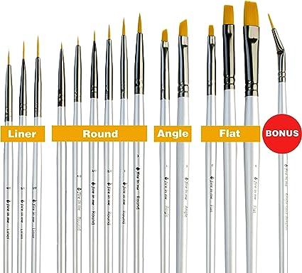Detalle Cepillo Extra Mini detallando Pintura Set Para Acrílico Acuarela Arte en Uñas