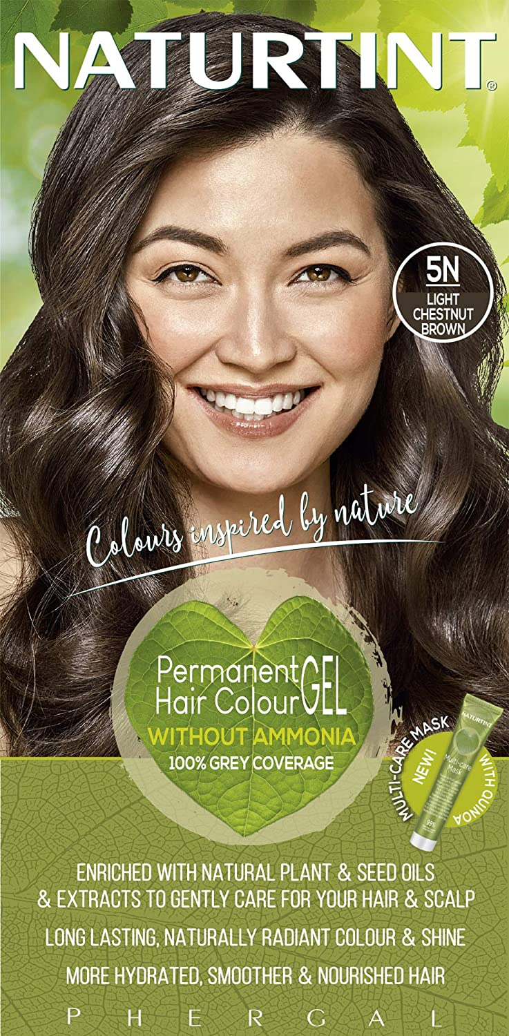 Naturtint Permanent Hair Color 5N Light Chestnut Brown (Pack of 1), Ammonia Free, Vegan, Cruelty Free, up to 100% Gray Coverage, Long Lasting Results