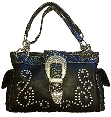 4eabc907f Amazon.com: Montana West Concealed Carry Purse Western Style Handbag Bling  Buckle Satchel (Black): Shoes