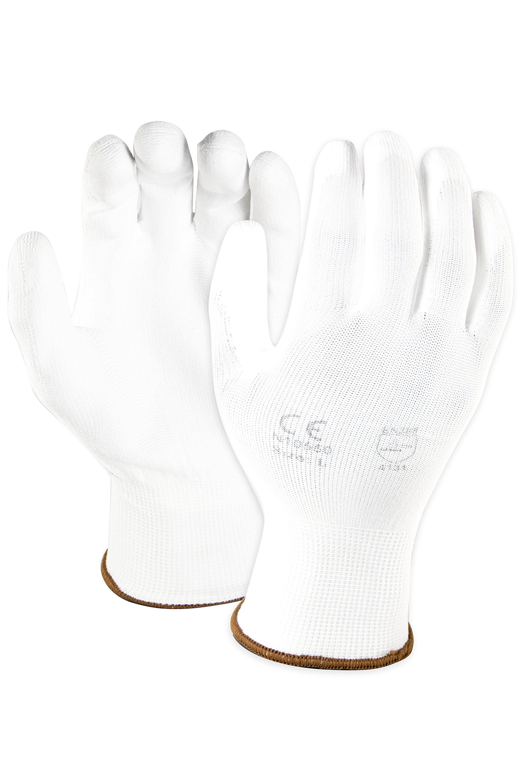 Azusa Safety N10550 13 gauge Nylon Machine Knit Safety Gloves, Polyurethane PU Coated, Large, White (Pack of 12 Pairs)