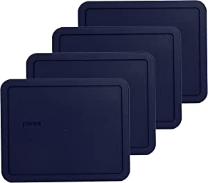 Pyrex 7212-PC 11 Cup Dark Blue Rectangle Food Storage Lid - 4 Pack