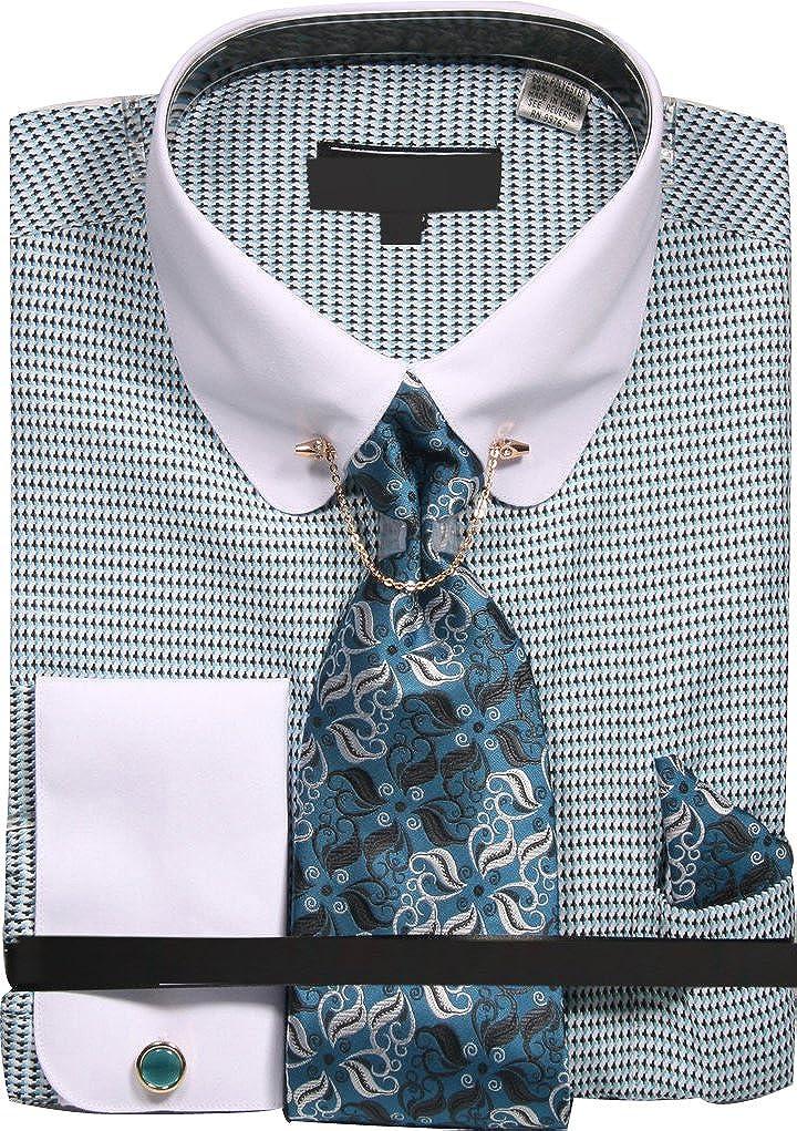 Mens Micro Diamond Print Shirt with Tie Handkerchief Cufflinks and Collar Chain