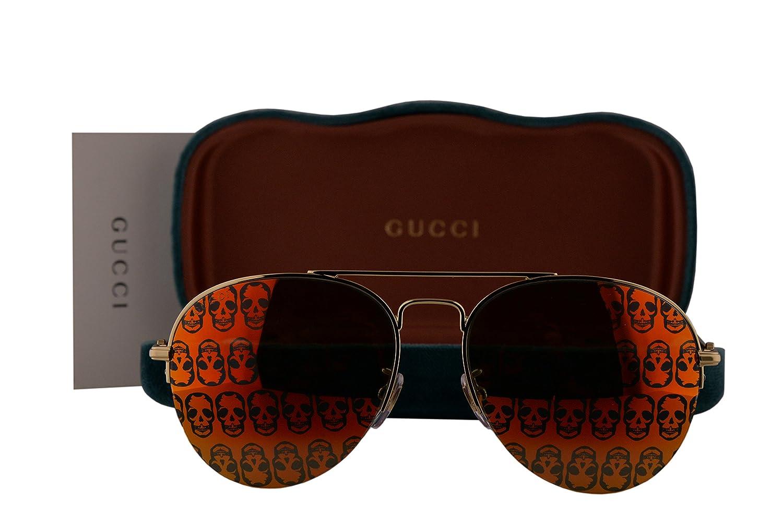 2bdcee37d4 Amazon.com  Gucci GG0107S Sunglasses Gold w Orange Mirror Lens 002 GG  0107S  Clothing