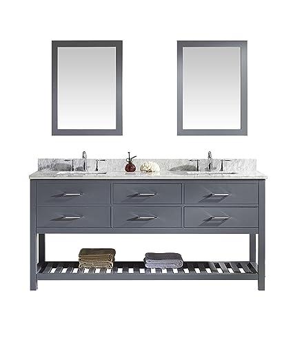 Virtu MD 2272 WMSQ GR Caroline Estate Double Bathroom Vanity Cabinet Set,