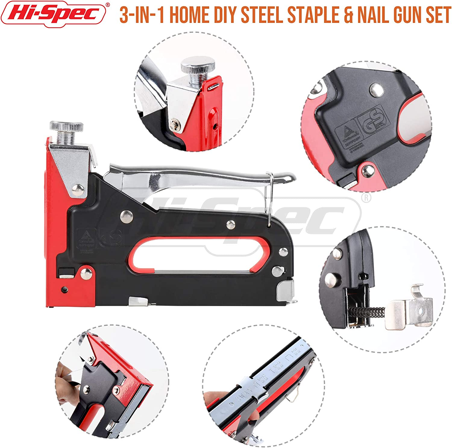 Hi-Spec Steel Staple and Nail Gun