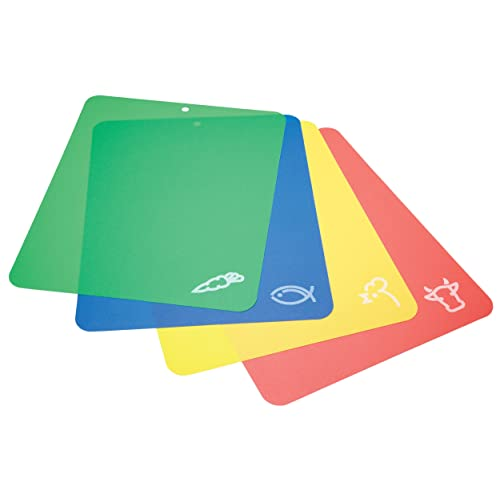 KitchenCraft Flexible Colour-Coded Chopping Boards, 38 x 30 cm (Set of 4) - Multi-Colour