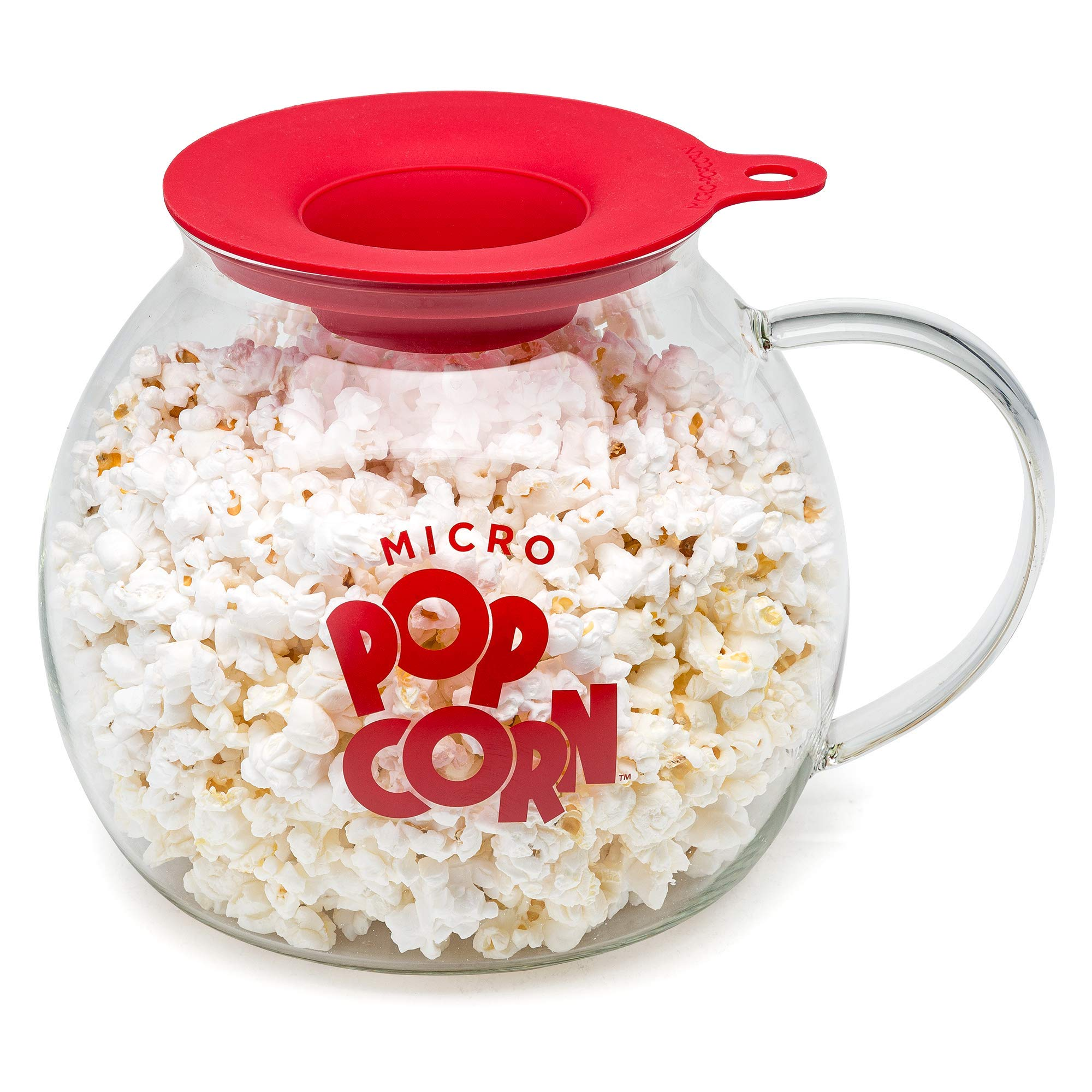 Original Microwave Micro-Pop Popcorn Popper, Borosilicate Glass, 3-in-1 Silicone Lid, Dishwasher Safe, BPA Free, 3 Quart by Epoca