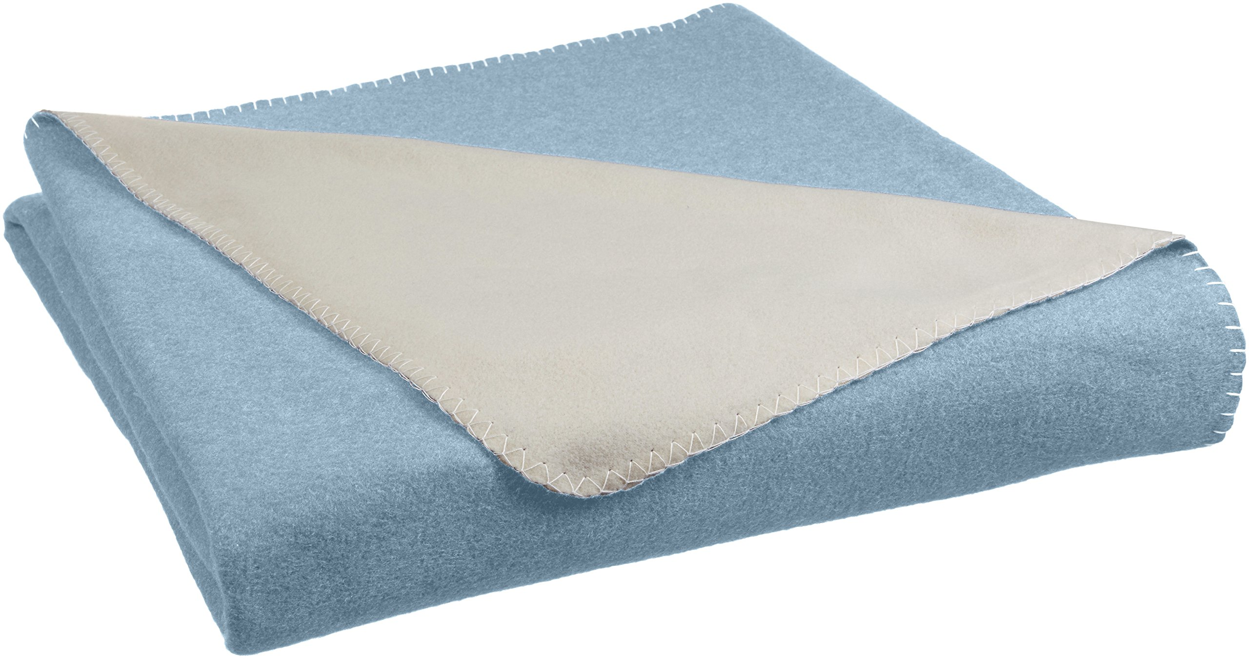AmazonBasics Reversible Fleece Blanket - Throw, Spa Blue/Taupe