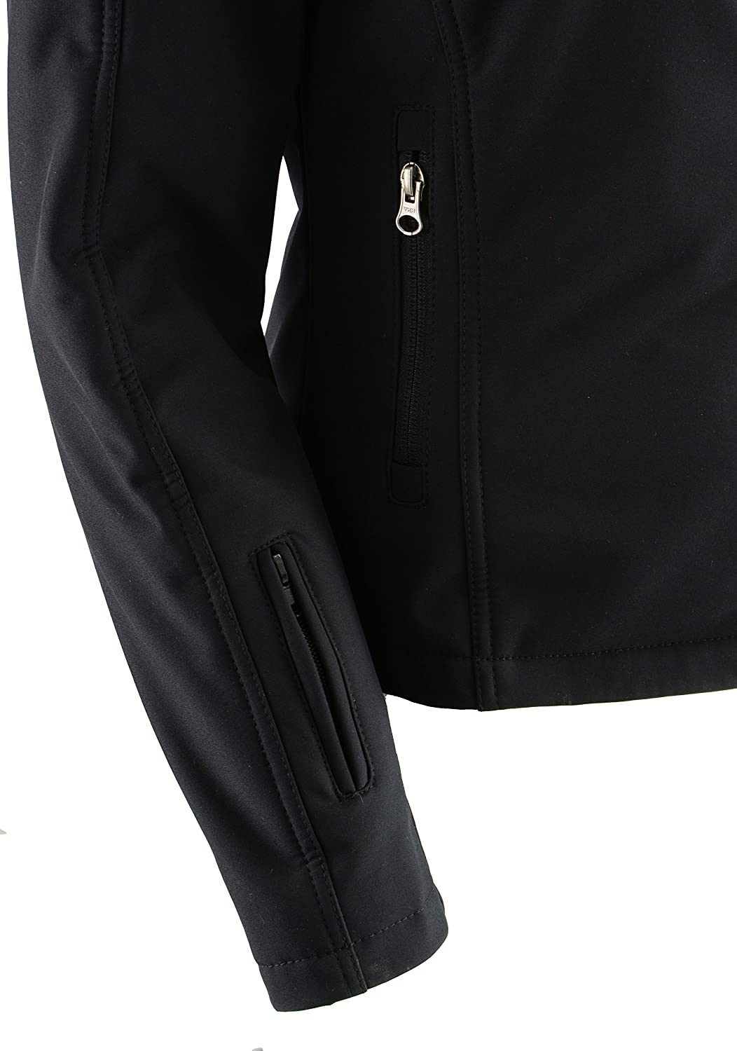 Milwaukee Performance-Women Zipper Front Heated Soft Shell Jacket w//Front /& Back Heating Elements and portable battery pack included-BLACK-MD-2760
