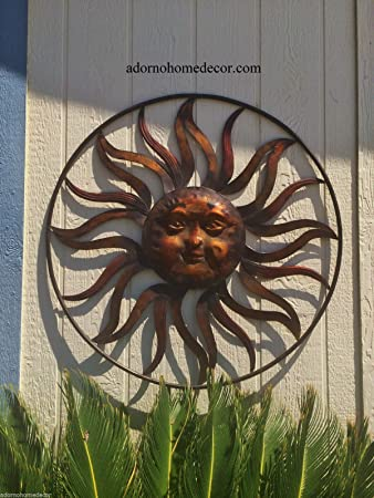 Large Round Metal Sun Wall Decor Rustic Garden Art Indoor Outdoor Patio  Backyard