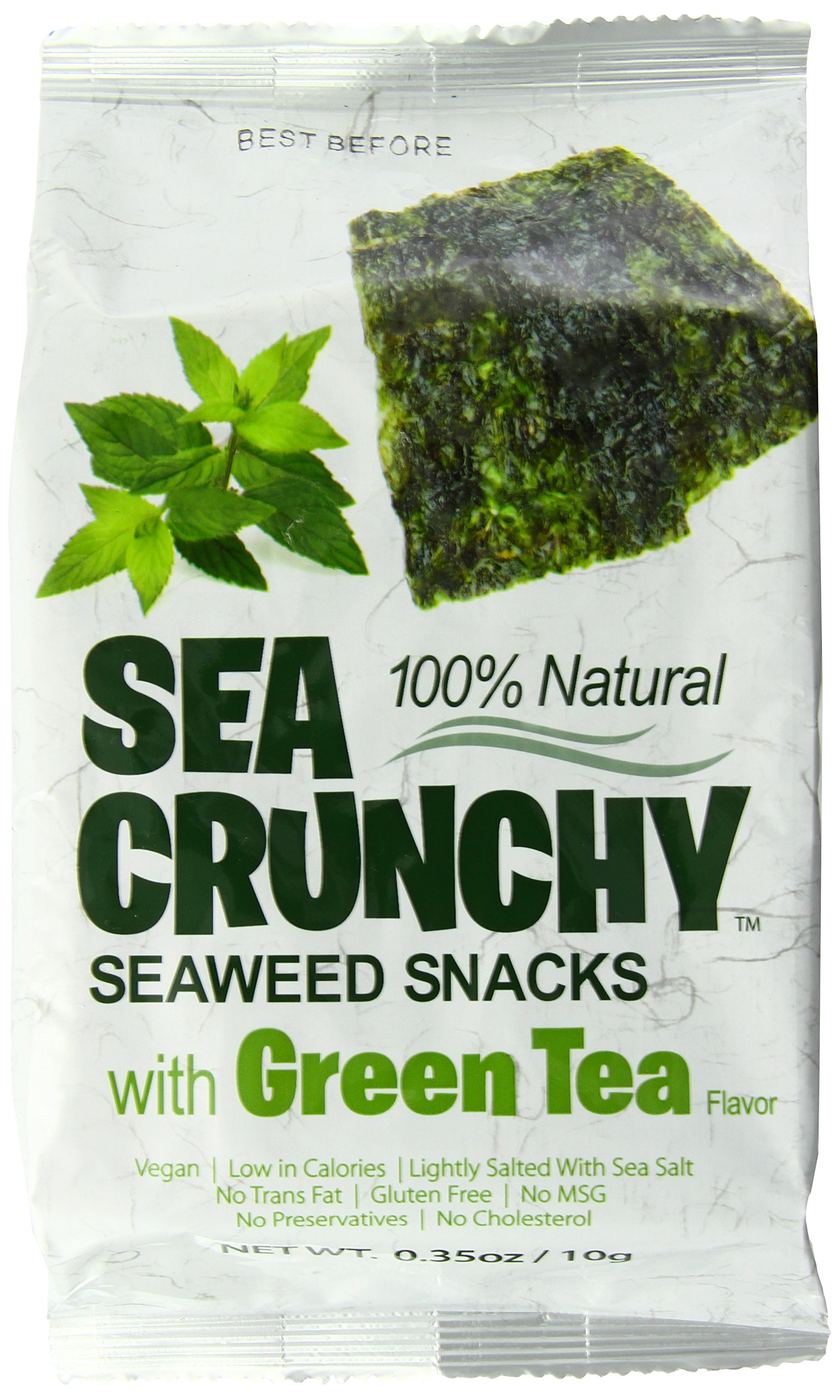 Sea Crunchy 100% Natural Roasted Seaweed with Green Tea Flavor, 0.35 oz (Pack of 12) by Sea Crunchy