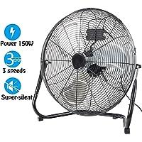 "Dawoo 18"" Industrial fan 50cm 3 Speed stand fan Powerful 125W High Velocity Floor fan,Fit for workshop, warehouse(Chrome plated)"