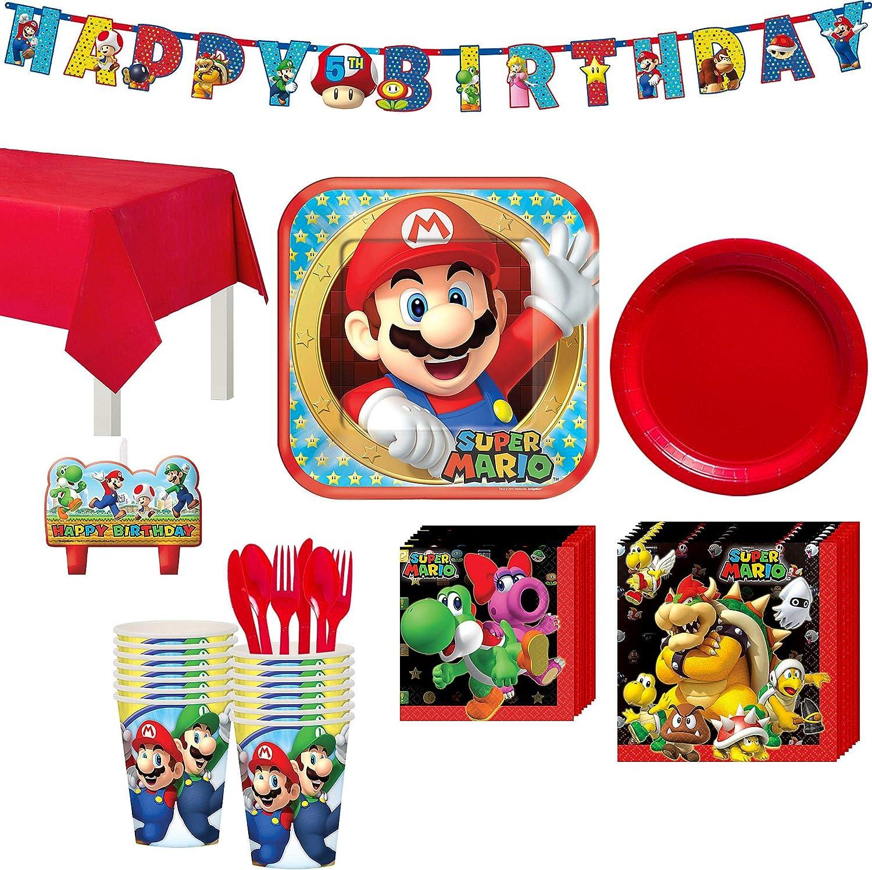 Party City Kit de Fiesta de cumpleaños de Super Mario, Incluye Pancarta de cumpleaños y Velas de cumpleaños, Sirve 16: Amazon.es: Juguetes y juegos