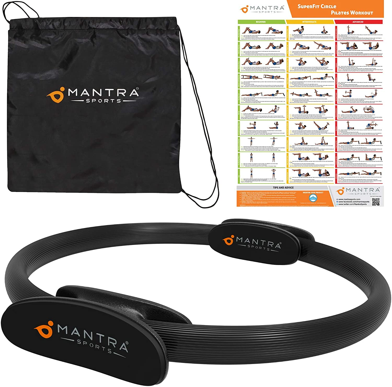 MANTRA SPORTS Pilates Ring Magic Fitness Circle - Exercise Resistance Equipment for Toning & Sculpting Inner & Outer Thighs-Improve Core Power Strength, Flexibility & Posture-Workout Poster & Bag