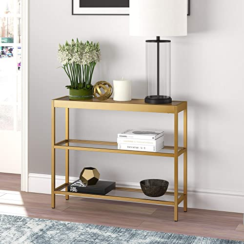 Henn Hart Modern Console Sofa, 3-Tier Open Shelf Entryway Hallway Table for Living Room, Multiple Colors Sizes, 36 L, 30 H x x 10 W, Gold