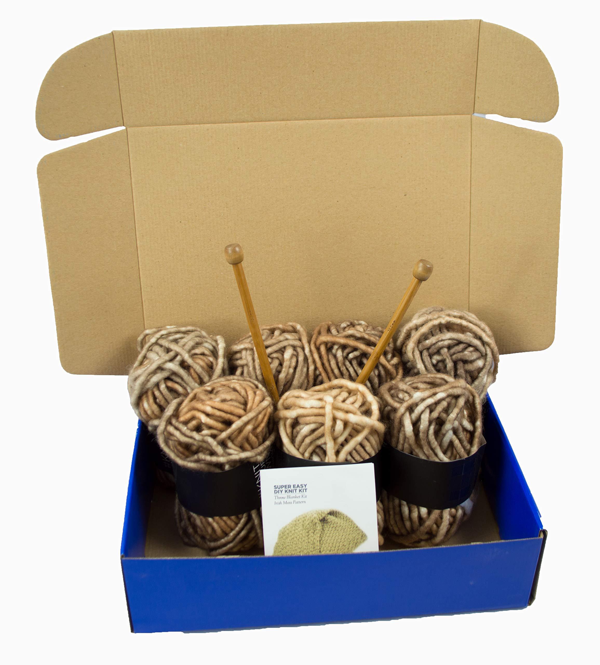 Chunky Knit DIY Throw Blanket Knitting Kit, Super Soft Yarn, US15 10mm Wood Needles (Marled Brown)