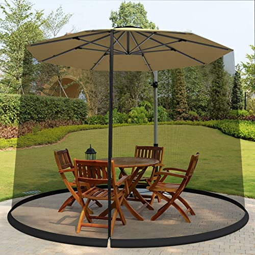 Tangkula 9 10FT Patio Umbrella Screen, with Zipper Door and Polyester Mesh Netting, Height and Diameter Adjustable, Suitable for Outdoor Patio Camping Umbrella
