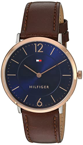 Tommy Hilfiger Men s Sophisticated Sport Gold Quartz Watch with Leather Calfskin Strap, Brown, 20 Model 1710354