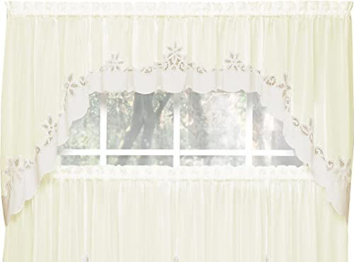 Today s Curtain Plymouth Classic Battenburg Applique Sheer Window Swag, 38-Inch, Ecru