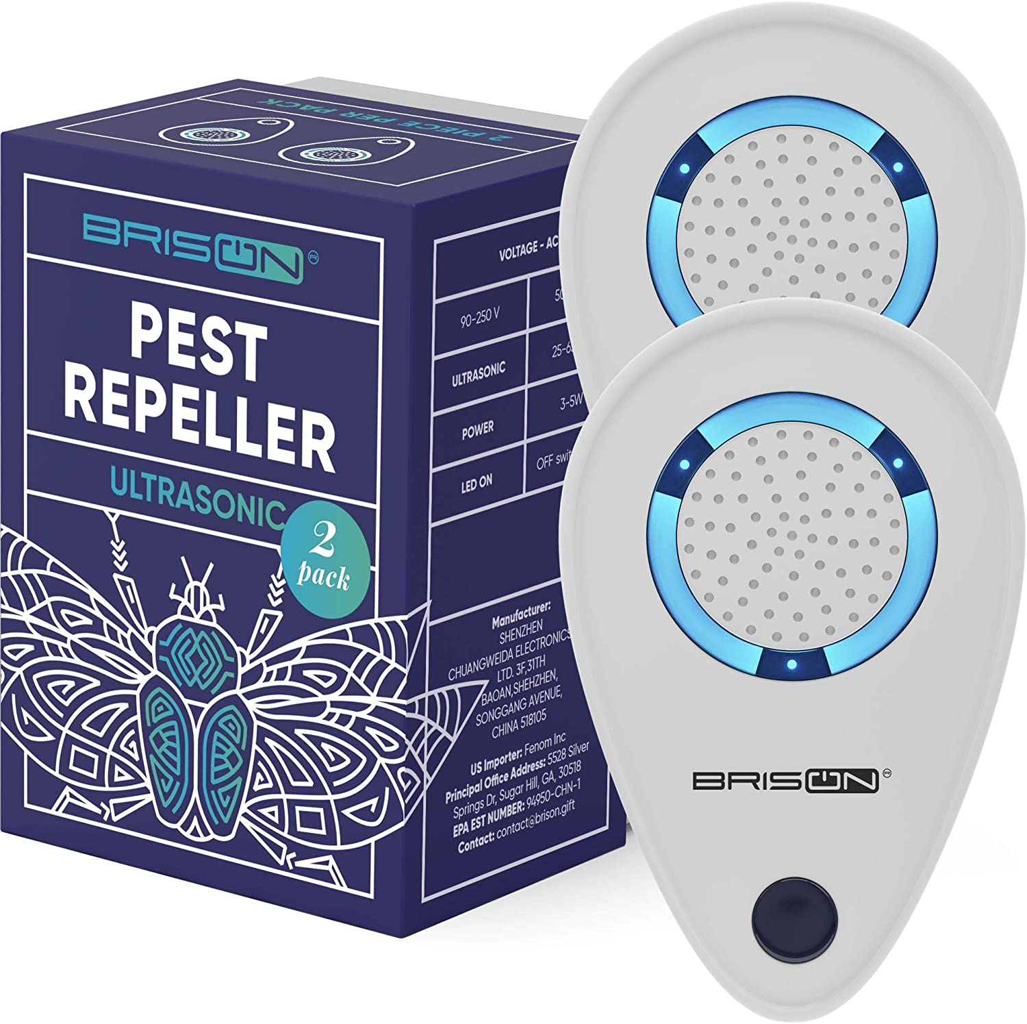 BRISON Ultrasonic Pest Reject Repeller - Plug in Electronic Non-Toxic Device - Electromagnetic and Ultrasound Control - Repellent for Mice Rats Bed Bugs Spiders Rodents Insects - Indoor