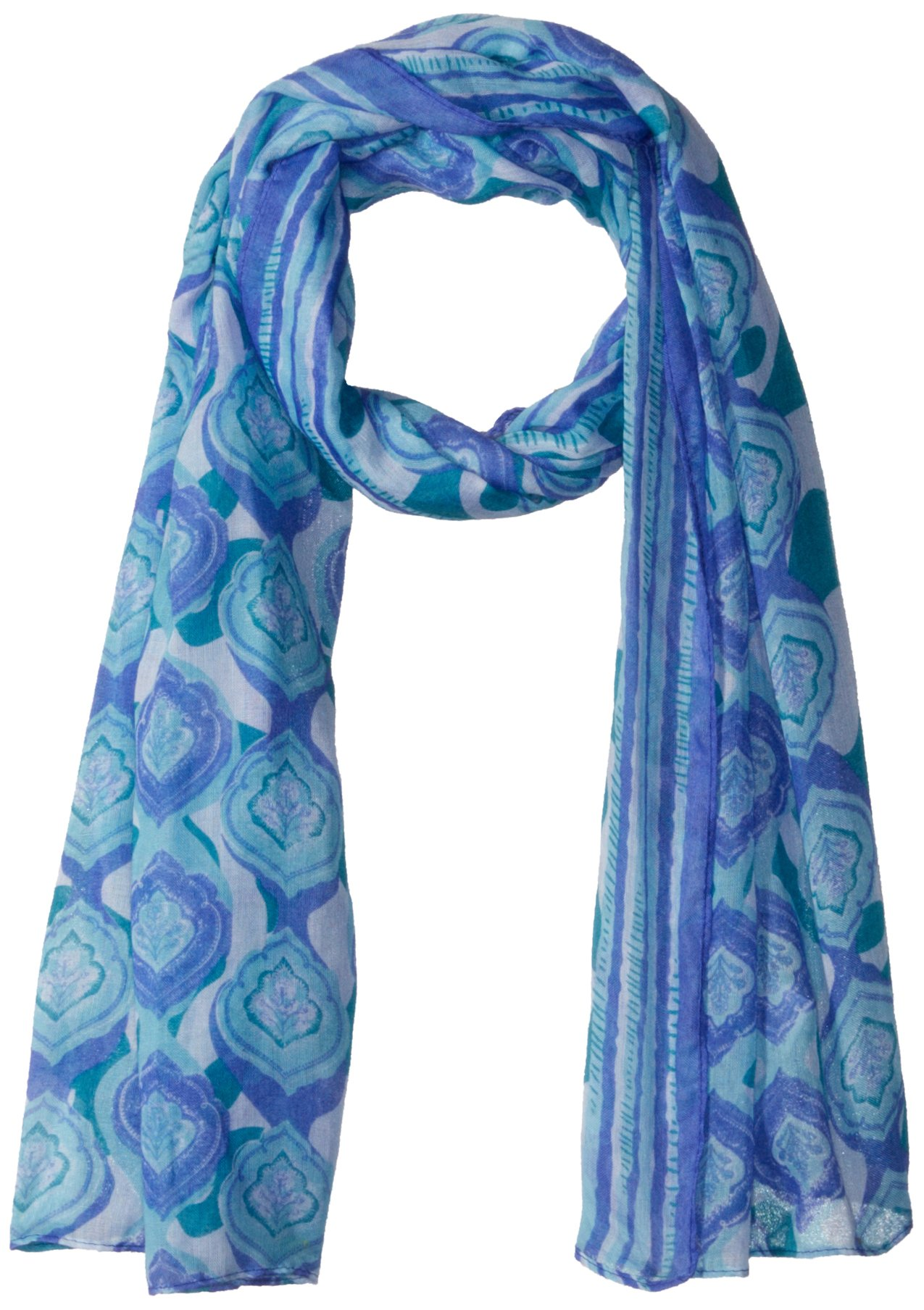 White Sierra Bug Free Printed Gauze Scarf, Blue Violet, 1 Size