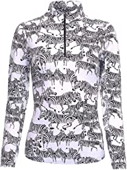 IBKUL Womens Sun Protective UPF 50 Cooling Doreen Print Long Sleeve Mock Neck 10402