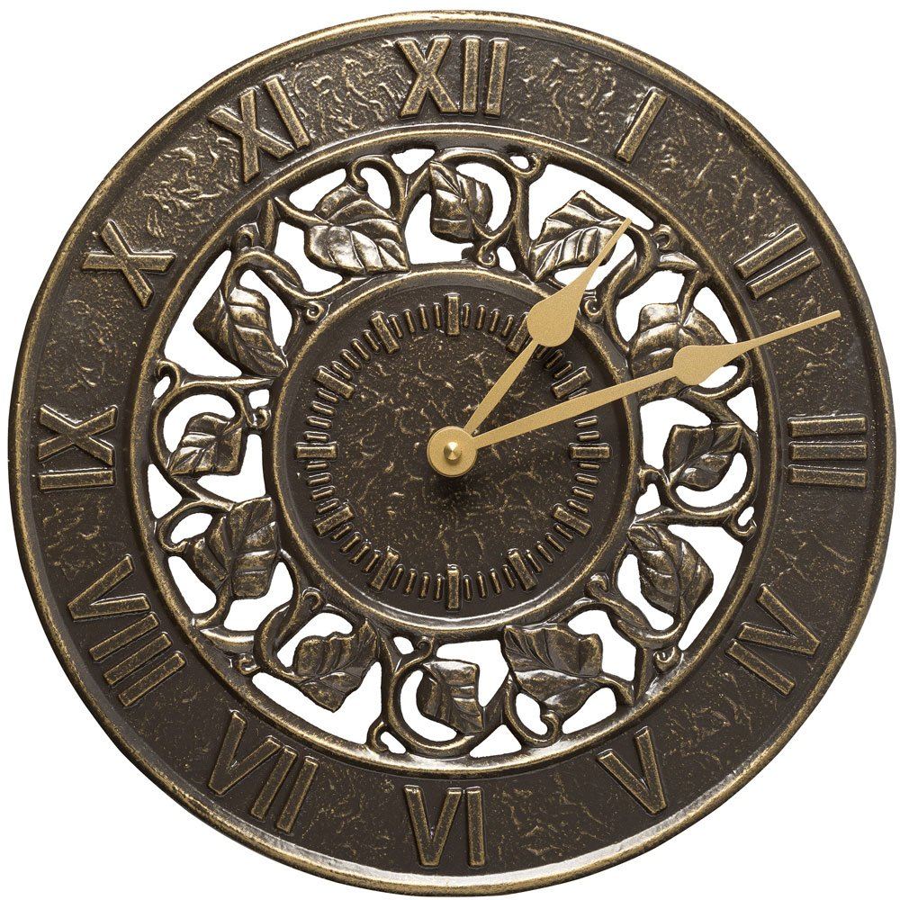 SKB family Outdoor Clock - Ivy Silhouette, 12'' x 12'' x 1.25'' x 4.5 lbs, French Bronze