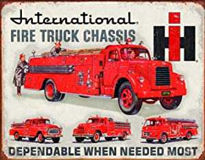 "Desperate Enterprises International Fire Truck Chassis Tin Sign, 16"" W x 12.5"" H"
