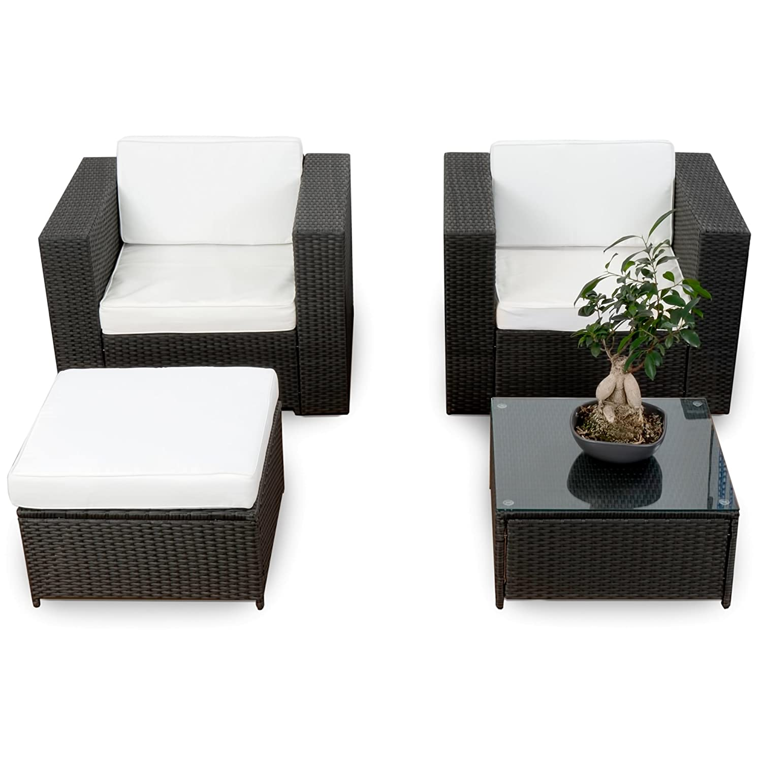erweiterbares 10tlg balkon garten lounge set polyrattan schwarz sitzgruppe garnitur. Black Bedroom Furniture Sets. Home Design Ideas
