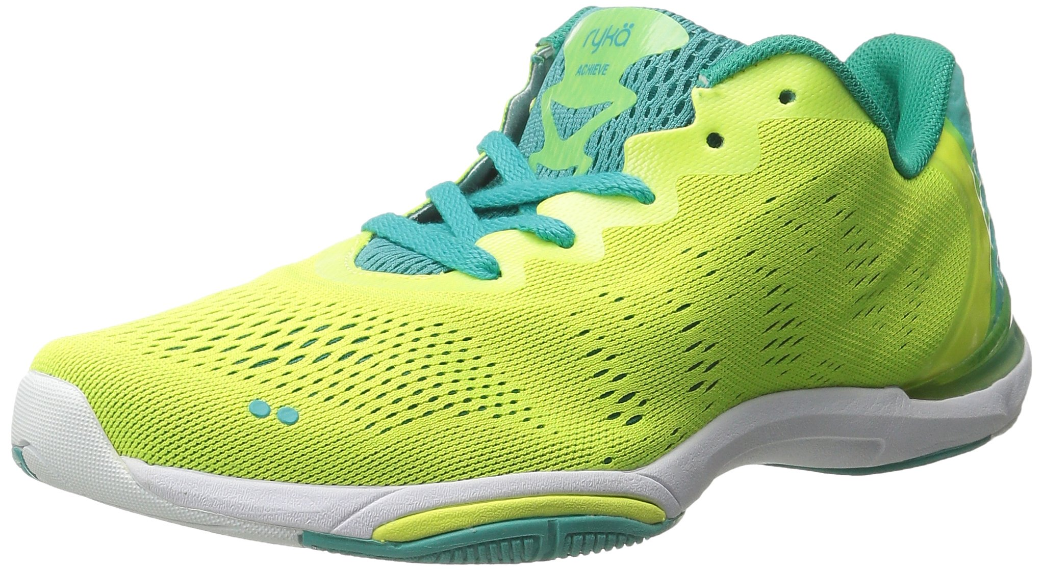 RYKA Women's Achieve Cross-Training Shoe, Yellow/Teal, 10 M US