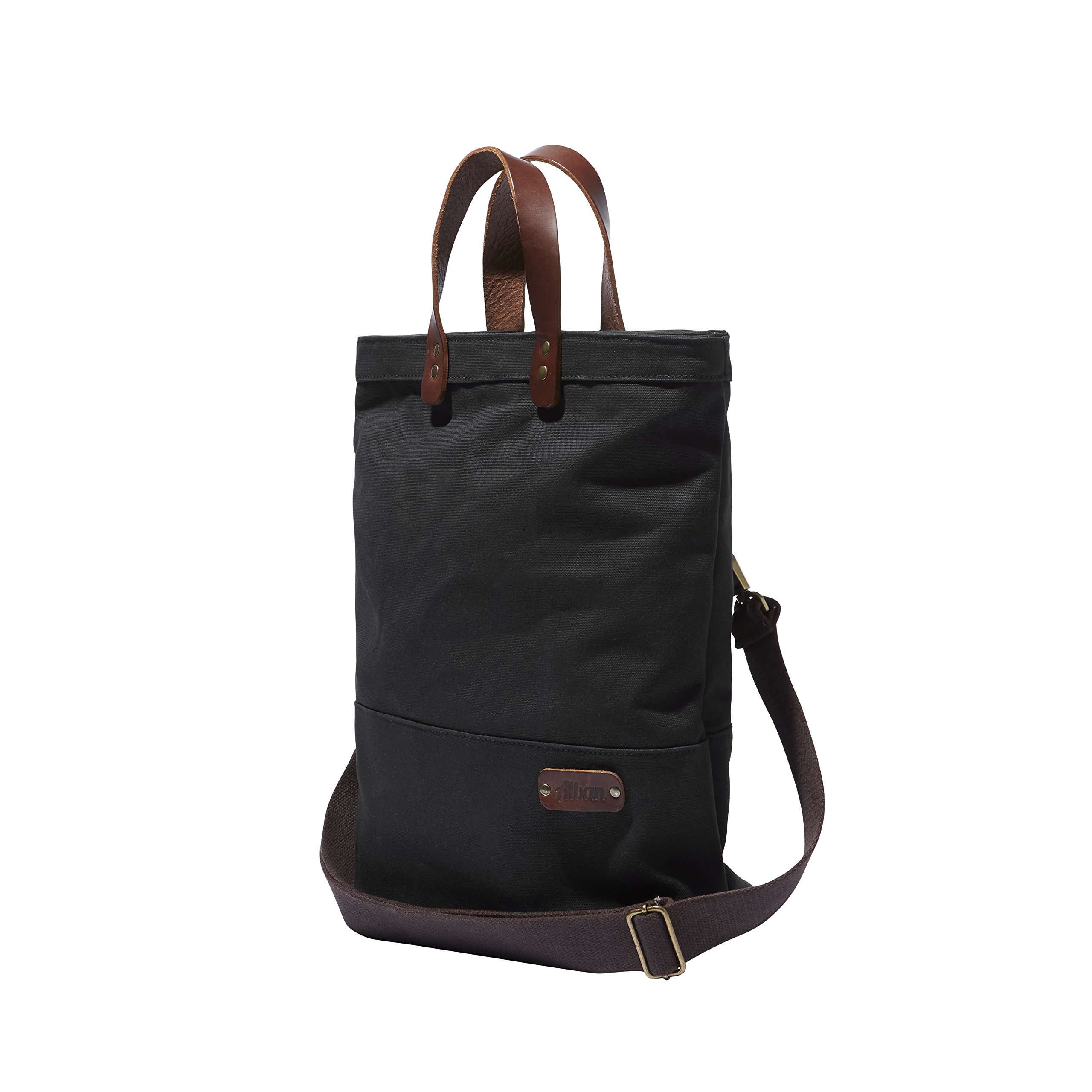 Tote Pannier Bag for Bicycles Alban Bike Bags Black Canvas Tote Pannier Bicycle Bag with Brown Leather Handles