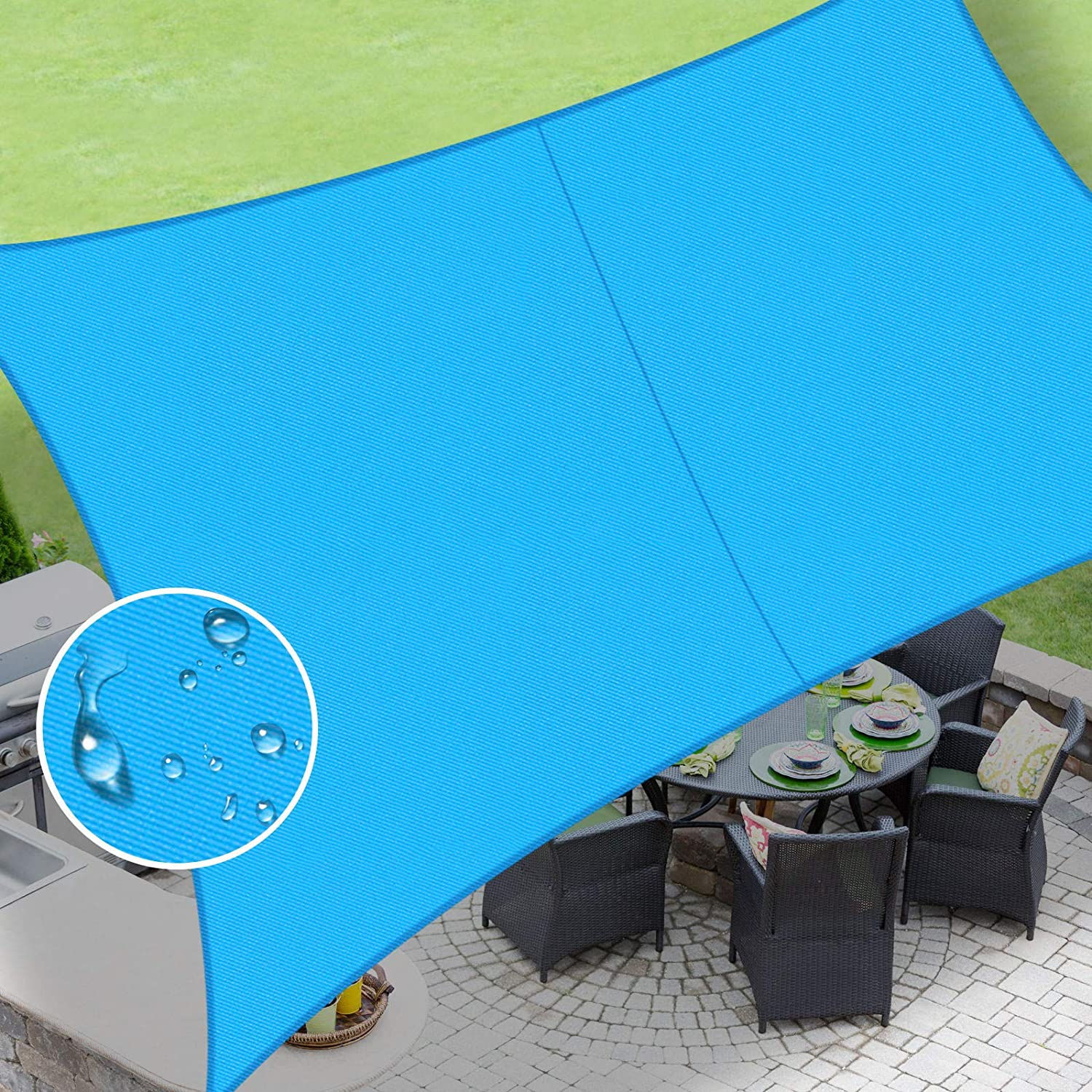 LOVE STORY Waterproof 10'×10' Rectangle Turquoise Blue Sun Shade Sail Canopy UV Resistant for Outdoor Patio Garden Backyard