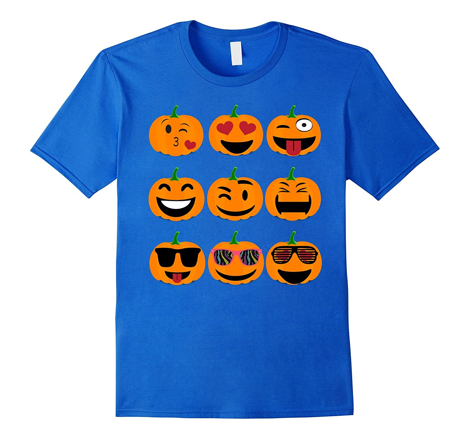 Emoji Pumpkin T shirt Funny Faces Halloween Thanksgiving-Teevkd