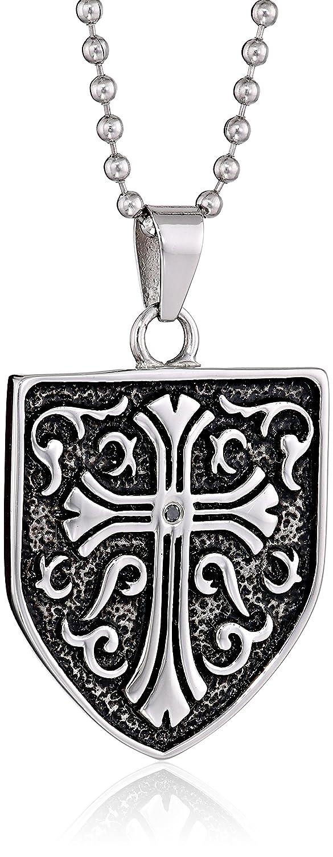 Cold Steel Stainless Steel 0.05Ct Black Diamond Celtic Cross Shield Men's Pendant Necklace, 23.0'' 23.0'' STP1399
