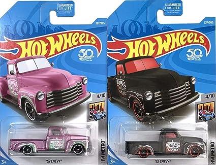 Hot Wheels HW Metro 52 Chevy Pink 207//365 and 52 Chevy Black 327//365 Bundle Mattel
